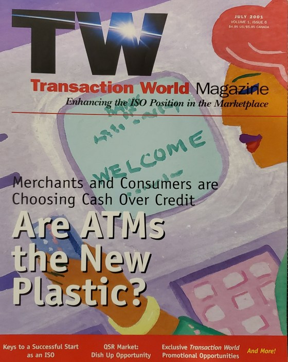 Front cover of Transaction World Magazine Issue 1, Volume 6 - 2001