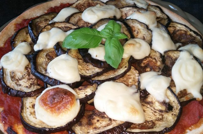 Roasted Eggplant with Homemade Mozzarella Pizza