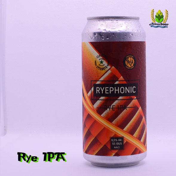 Cerveza artesana Rye ipa Ryephonic lata