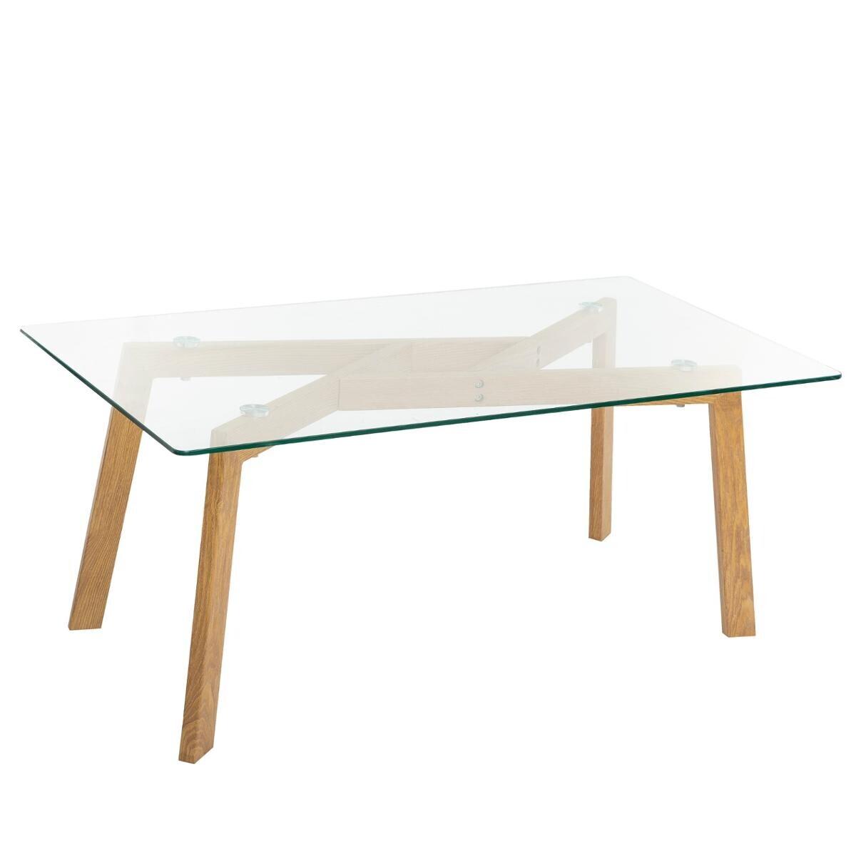 table basse taho plateau verre trempe