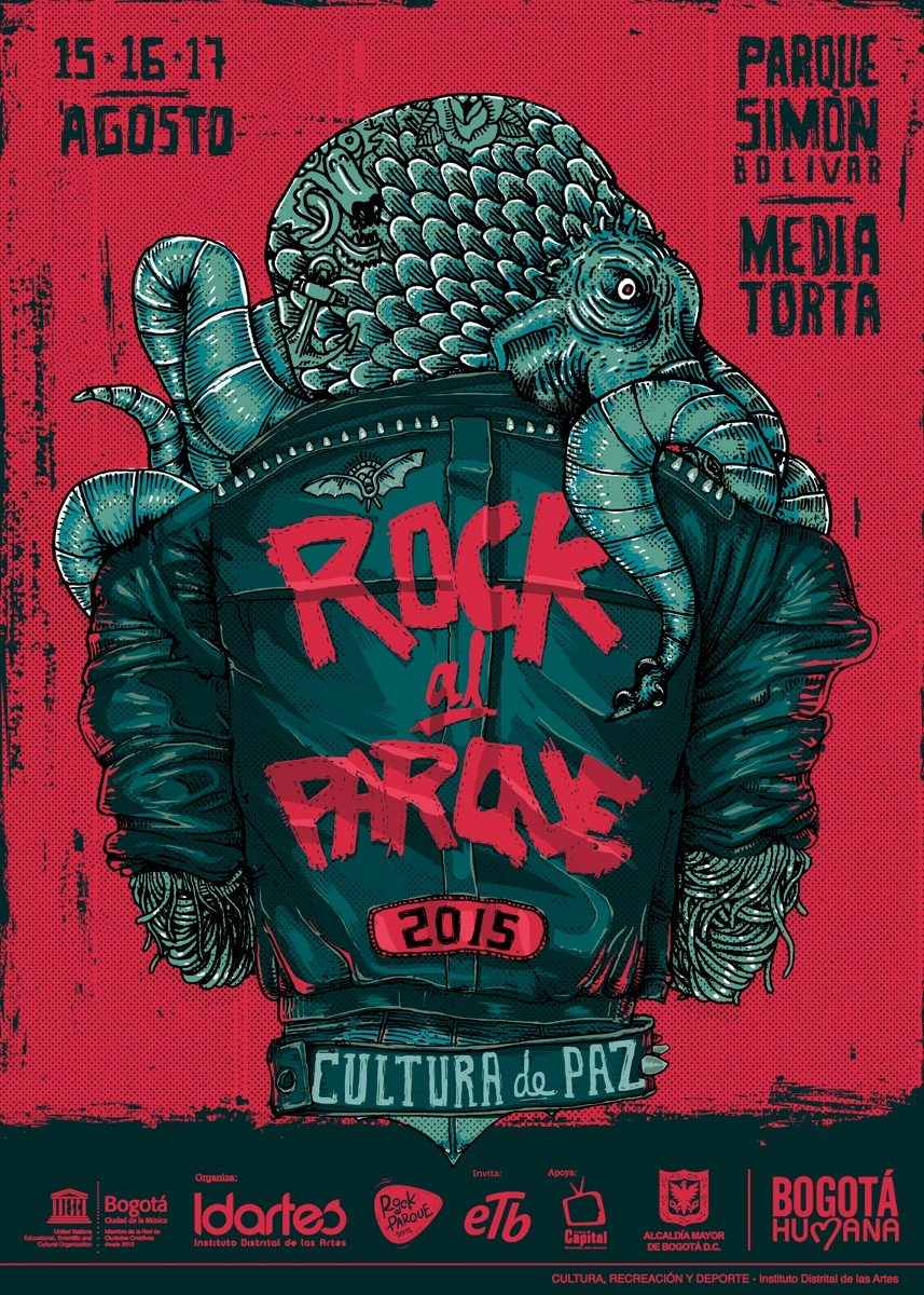 Rock Al Parque Festival 2015 official poster publically published on July 22nd, 2015