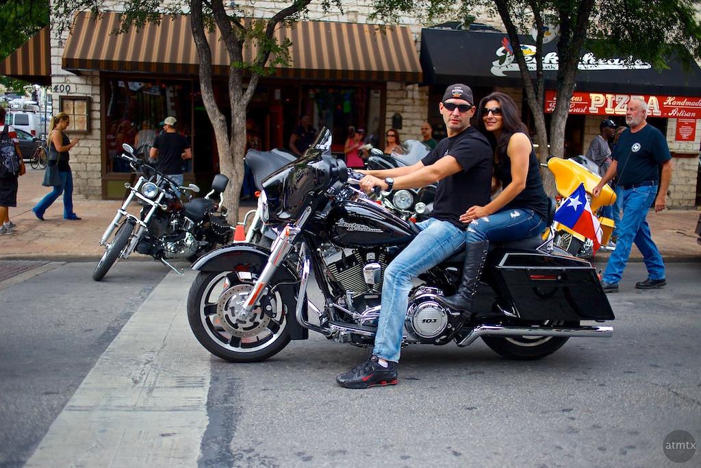 Harley Couple on 6th, 2013 ROT Rally - Austin, Texas