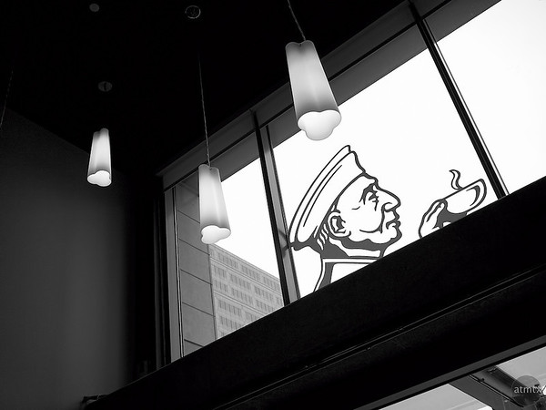 Window Logo, Caffe Medici - Austin, Texas
