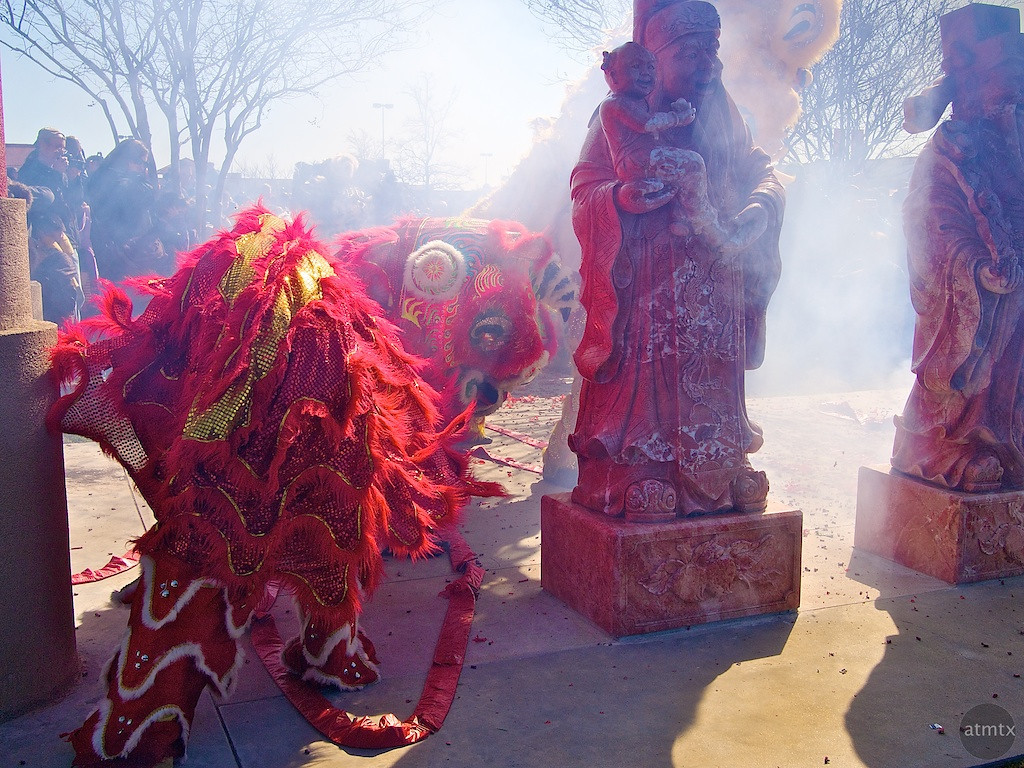 Lion Dance and Statues, 2012 Chinese New Year Celebration