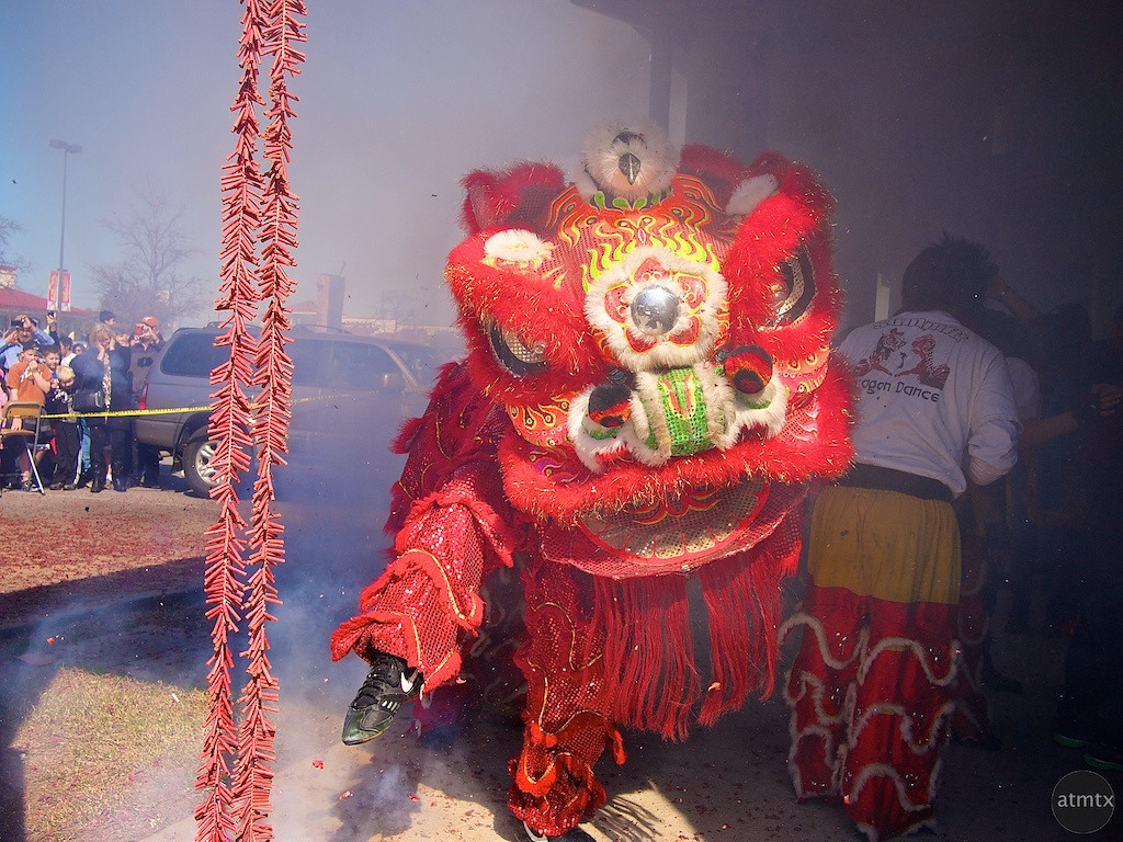 Lion Dance and Fireworks, 2012 Chinese New Year Celebration