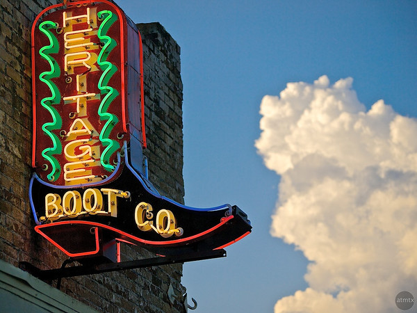 Heritage Boot Co. Neon Closeup, SoCo - Austin, Texas