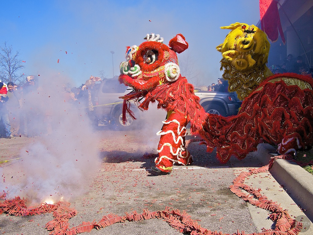 Lion Dance in Parking Lot, 2012 Chinese New Year Celebration