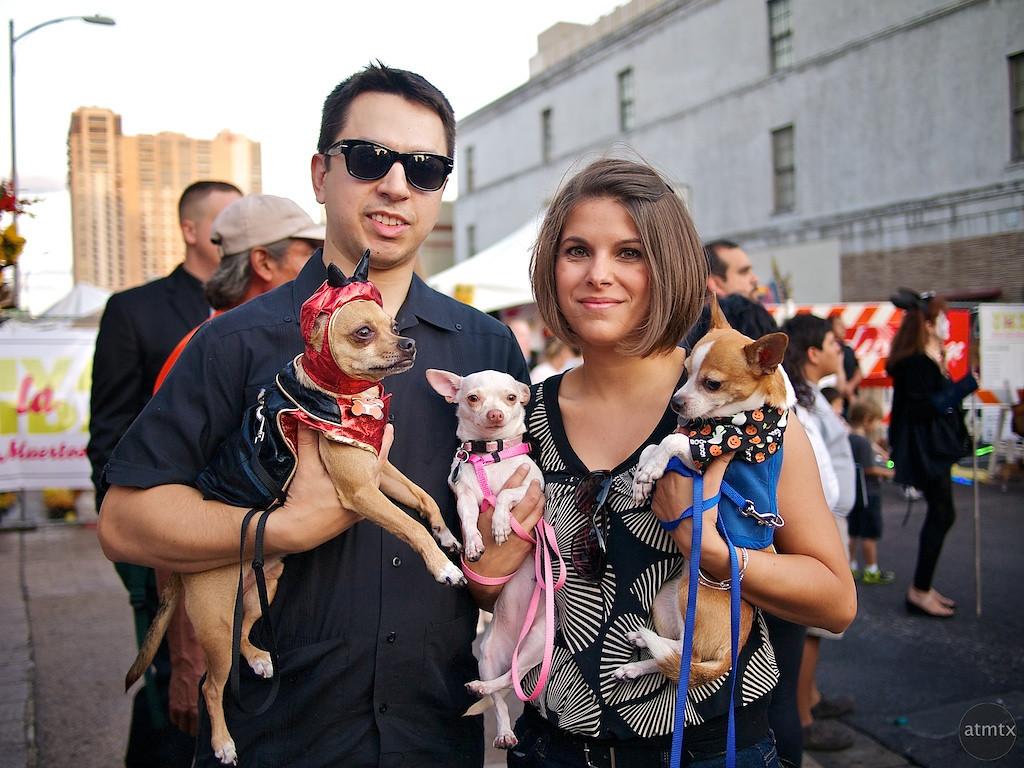 Marcus, Ana and their Chihuahuas, Dia de los Muertos Parade