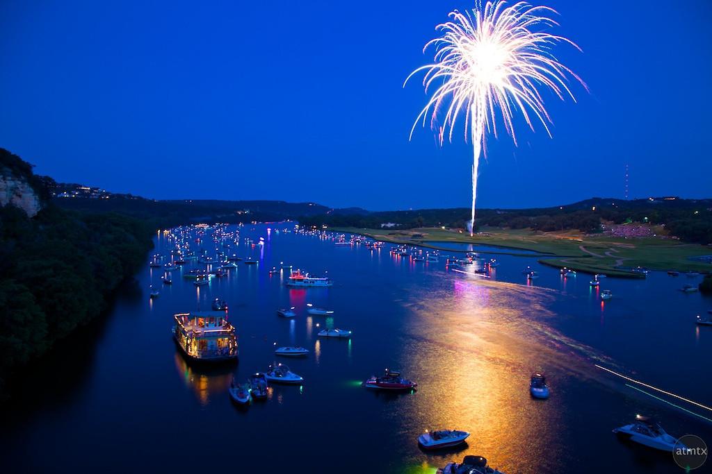 Fireworks over Lake Austin during blue hour - Austin, Texas