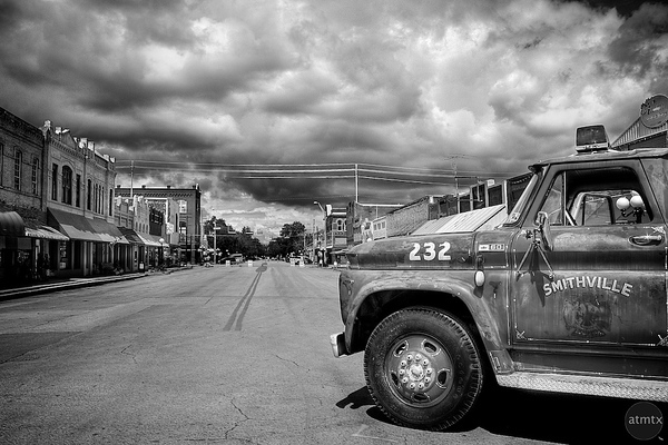 Storm Clouds over Main Street - Smithville, Texas