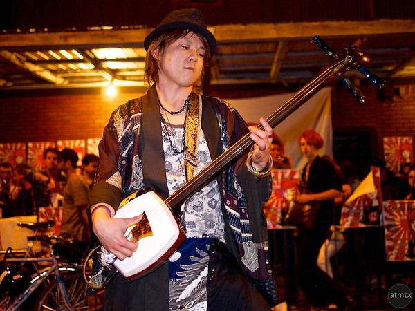 Jack with his shamisen, Red River Street - Austin, Texas