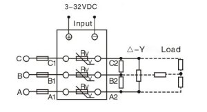 Solid state relay, 3 phase, SSR60DA, 60A 332V DC to AC