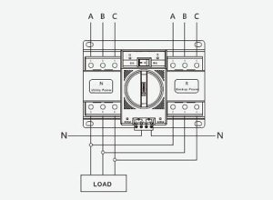 Automatic Transfer Switch, 34 Pole, 6 to 63 Amps | ATO