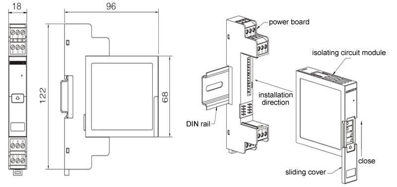 Signal Isolator, Loop Powered, 4-20mA/0-20mA/0-5V/0-10V