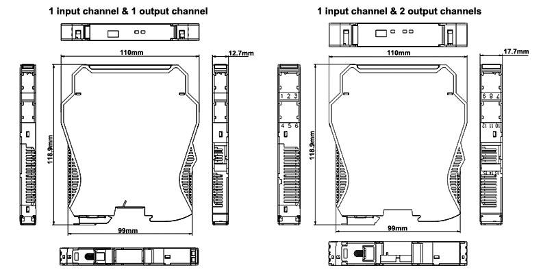 Loop Powered Signal Isolator 4-20mA/0-20mA/0-5V/1-5V/0-10V