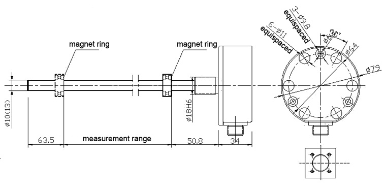 1000mm Magnetostrictive Displacement Sensor for hydraulic