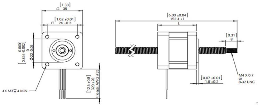 Nema 14 Stepper Motor Linear Actuator, 2 phase, 10V, 0.5A