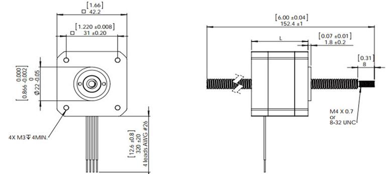Nema 17 Stepper Motor Linear Actuator, 2 phase, 2.8V, 1