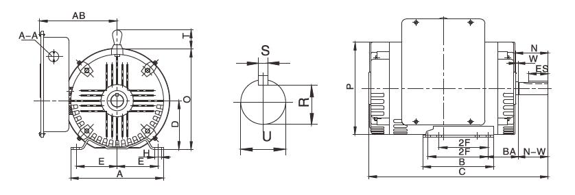 5 hp NEMA AC Induction Motor, Single Phase 230V, ODP/TEFC