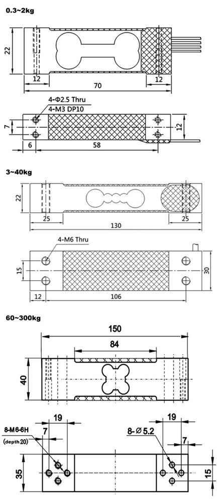 Single Point Load Cell, 300g/1kg/3kg/10kg/60kg/100kg/200kg