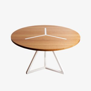 barnabe table ronde narya blanc bois acier contemporain design