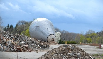 Rubble and a dismantled atom smasher; this is what remains of the Westinghouse Research Laboratories as of April 2015. Photo © Marni Blake Walter.