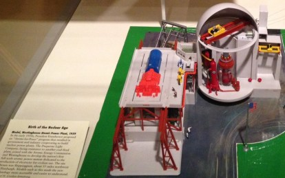 """""""Birth of the nuclear age"""": detail from a model Westinghouse atomic power plant, 1959, on display at the Heinz History Center."""
