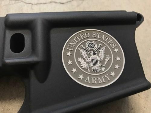 United States ARMY logo engraved AR15