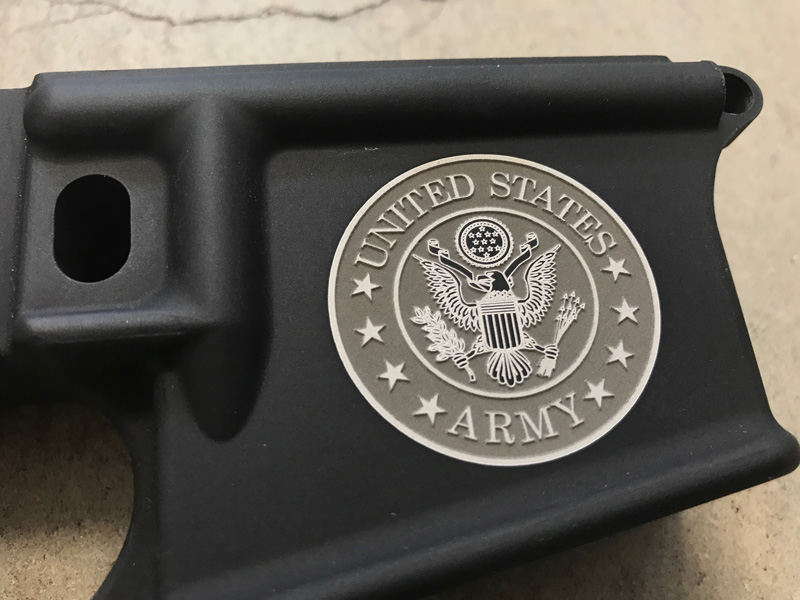 United States ARMY logo engraved AR15
