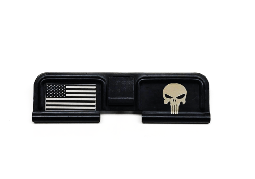 Punisher / US Flag Custom Engraved Dust Cover AR15