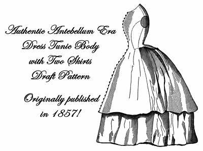Antebellum Civil War Ladys Dress Draft Pattern 1857