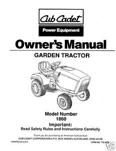 Cub Cadet Operators Manual Model No. 1860