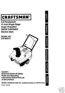 Sears Craftsman Chain Saw Manuals Model # 358.351810