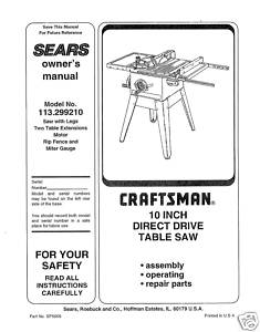Sears Craftsman Table Saw Manual Model # 113.299210