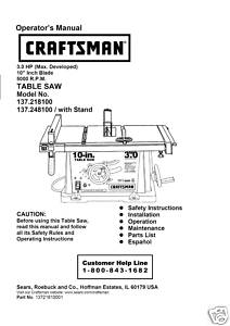 Sears Craftsman Table Saw Manual Model # 137.218100
