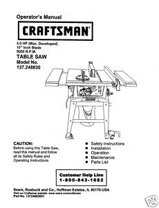 Sears Craftsman Table Saw Manual Model # 137.248830
