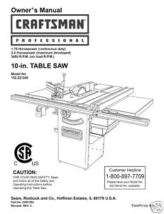 Sears Craftsman Table Saw Manual Model # 152.221240