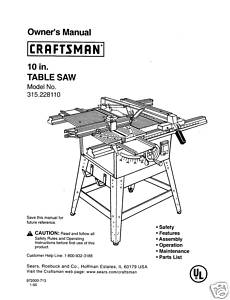 Sears Craftsman Table Saw Manual