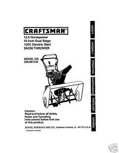 Sears Craftsman Snow Thrower Manual Model 536.881230