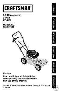 Sears Craftsman Edger Manual Model # 536.772101