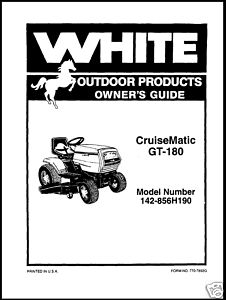 White CruiseMatic GT180 Lawn Tractor Owners Manual