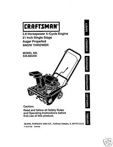 Sears Craftsman Snow Thrower Manual Model No.536.885200