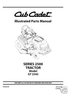 Cub Cadet Parts Manual Model No GT 2542