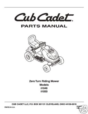 Cub Cadet Parts Manual Model No i1046 & i1050