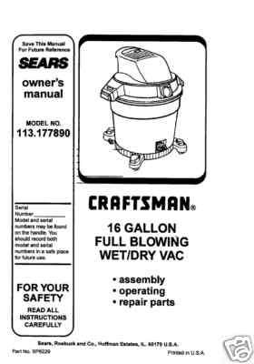 Sears Craftsman Wet and Dry Shop Vac Manuals