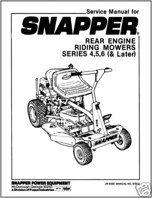 Snapper Rear Engine Riding Mower Series 4,5,6 (& Later