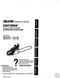 Sears Craftsman Chain Saw Manuals Model # 358.354830