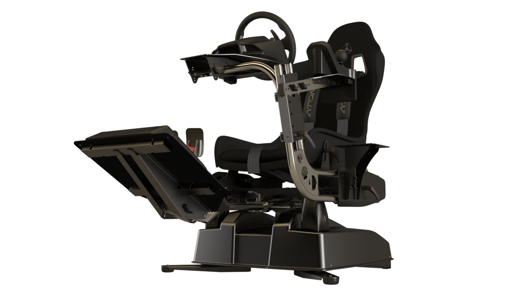hydraulic racing simulator chair chromcraft dining chairs casters home atomic motion systems a3 black front right ltrans