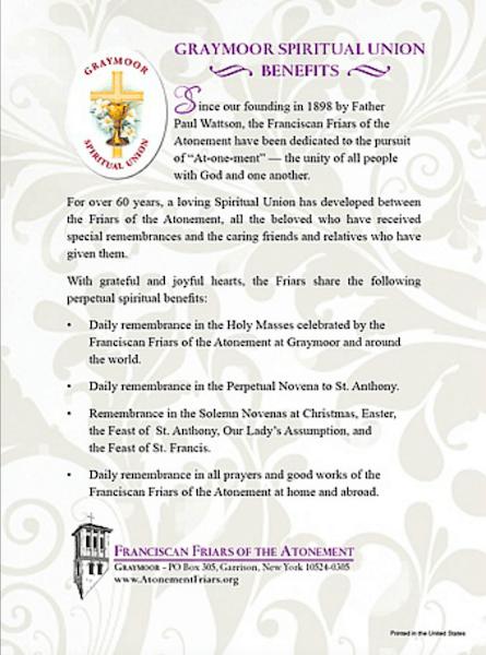 Spiritual Union Enrollment Form, Catholic Mass Cards