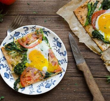 Lavash Flatbread with Leek, Broccoli Rabe and Fried Egg
